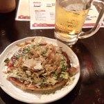 中野ぱらだいす - たこのみ焼き+生ビール