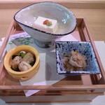 20784982 - 一の膳。白子豆腐、浅蜊と若芽、切干大根。