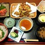 個室割烹日本海 - しらすご飯と海鮮かき揚げ