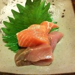 個室割烹日本海 - 刺身(しらすご飯と海鮮かき揚げ)