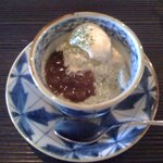 松水庵 - 菫(すみれ 2300円) 水菓子:蓬どうふのあんみつ アイス添え