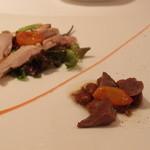 イル ジーリョ - 森林鶏のコンフィ、豆のサラダ、自家製ドライトマト添え
