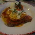 花・ふらんす食堂やまもと - 信州産豚ロース肉と生ハム モッツアレラチーズの重ね焼き