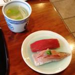 小笹寿し - アジ、赤身、鯛の吸い物