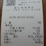 無添くら寿司 - レシート(2013.08.14)