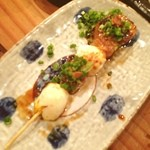 Kitchen和 - 犬鳴豚バラ角煮半熟うずら串焼き(((o(*゚▽゚*)o)))おいし。