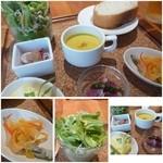 20850449 - 「コーンスープ」「ワカサギのマリネ」「パン(追加していただけます)」「サラダ」「イイダコのマリネ」など