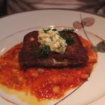 キノシタ - 香ばしく焼いたフロマージュ・ド・テッド~豚のゼリー寄せ~白インゲン豆のトマト煮込みと香草のソースを添えて (2013/08)