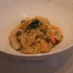 キノシタ - 甘エビ、小柱、雲丹 冷製魚介のカッペリーニ ライムの香り (2013/08)