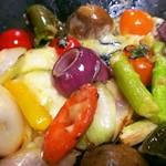 お好み焼き 神明 - 焼き野菜とカチョバロ~カチョバロチーズを投入!トロ~り♪~