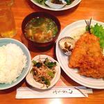 うえ田 - ひれかつ・アジフライ定食800円
