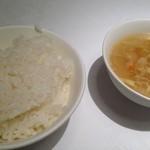 重慶飯店 - ご飯、スープ