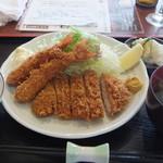 とんかつ二条 - ロースカツと海老フライ定食