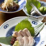 創菜や わびすけ - 鰆のお造り、ままかり酢、黄にらとたこの梅じょーゆがけ:岡山の地元料理です♪