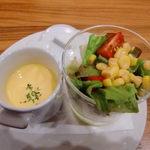 porcocoda ff dining - セットのスープとサラダ♪