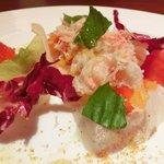 20905689 - グルメコース 1995円 のスズキのカルパッチョと彩り野菜のセビーチェ