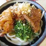讃岐製麺所 - 太麺大盛 アゲ かき揚げのせ