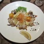 ルナール ブルー - 瀬戸内鱧の炙りと石割さんの水ナスを使ったサラダ