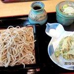 茗荷庵 - 鶏ささみの梅肉大葉包み天せいろ!(2013,8/25)