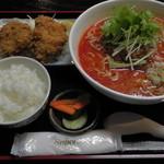 20939065 - H25年8月、Cセット(担々麺、ヒレカツ、おしんこ、ライス)1,050円