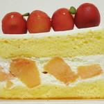 サロン ド テ エム エス アッシュ - サクランボとメロンのショートケーキ(真横から、2013年8月)