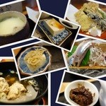 20946439 - 鰯の刺身、天麩羅、ちりめん鮨、冷奴、茶碗蒸し、つみれ汁、いわし味噌、漬物