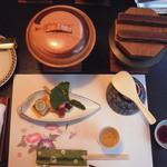 20982949 - 夕食:食前酒(中央右下)は氷入り梅酒