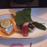 20982950 - 夕食1:鯖錦紙寿司、鶏松風焼、合鴨ハム、枝豆寄せ田楽、獅子唐焼浸し