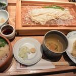 Ennagoya - 穴子と夏野菜の天ぷら 稲庭うどん 平成の桶寿司付き 1260円