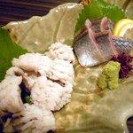 桃屋 - 鱧落とし、秋刀魚の刺身
