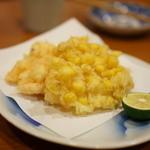 くう - 料理写真:車海老とトウモロコシのかき揚げ