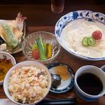 麺 銀三 - 天ぷら冷麦+炊き込みご飯