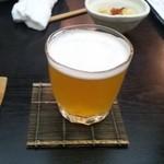 なつ家 - 八海山生ビール(グラス)(580円)
