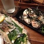 竹とり - 焼きしめ鯖(食べちゃってますが^_^;)と鮭おにぎり