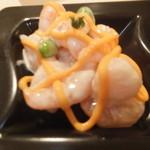 21026849 - ランチ パスタセット 840円 前菜3品盛り 魚介のチーズソース掛け 【 2013年8月 】