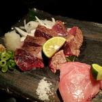 京鴨と燻製酒場 KAMOSHIGIN - 本マグロ食べ比べ!ほほ肉、脳天中とろ