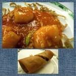 中国料理 桃花林 - 「海老チリ」は辛さも程良く美味しい。春巻は具材タップリでした。