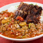 MKYアメリカンレストラン - スパイスの効いたスープとライスを合わせた『チキンガンボ』