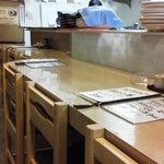 九 - 201309 九 店内(座席より右回り)⇒左奥が入口です