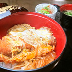 丸一食堂 - 料理写真:かつ天丼~味噌汁・サラダ・お新香付~
