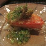 GINZA 水野 - 蟹の肝とオクラ添え