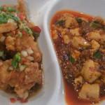 21067398 - ランチの淋鶏と麻婆豆腐の定食(920円)