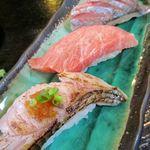 寿司と地魚料理 大徳家 - 料理写真:黒ムツ炙り 本鮪大トロ アジ