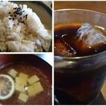 暖季 - ご飯は「玄米」です。お吸い物は「魚の出し」がよく出ていて秀逸でした。 食後にドリンクが付くのも嬉しいかな。