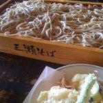 三瀬そば - 板そば大と天ぷら盛り合わせ