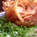丸亀製麺 - かけうどん(並)+小エビのかき揚げ+ネギ=410円