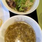 麗華 - 2013/9 エビのカレー炒め・サラダ&スープ