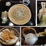 手打ち蕎麦 かね井 - ざる蕎麦。長次郎鮫皮おろし付。手打ち蕎麦 かね井(京都市)食彩賓館撮影