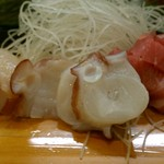 まさ木 - 料理写真:酒肴①刺身(帆立・蛸・鮪)