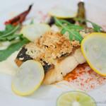 アマルフィイ・モデルナ - 三崎港より 鮮魚のアーモンドパン粉焼き 根セロリのクレマとすだちを添えて